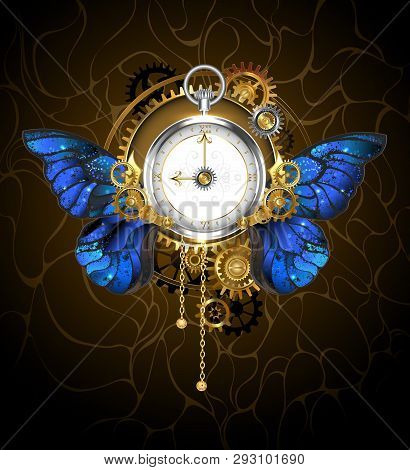 Round The Clock In The Style Of Steampunk With Blue Butterfly Wings Morpho, With Dial With Gold Roma