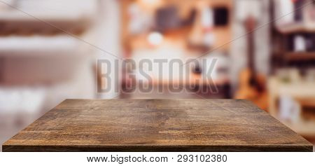 Perspective Wood Table Counter In Home Office.empty Wooden Tabletop With Blurred Music Workplace Bac