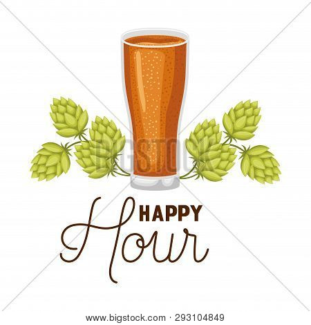 Happy Hour Label With Glass And Pinecone Vector Illustration Design