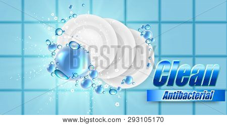Realistic Dish And Plate On Beautiful Colored Background And Soap Bubbles, Dish Wash Illustration ,