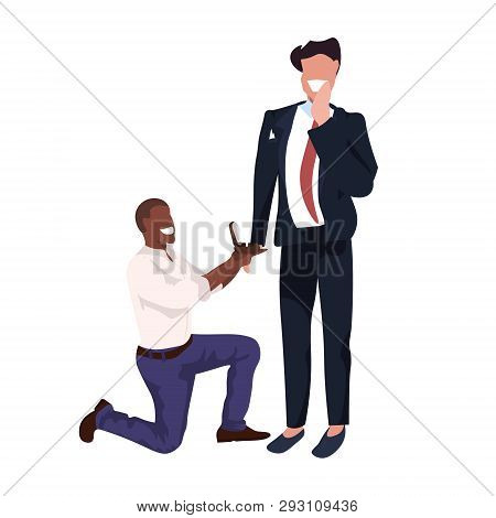 African American Man Kneeling Holding Engagement Ring Proposing Boyfriend Marry Him Couple Men Homos