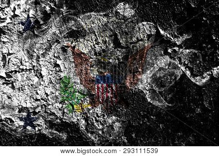 Vice President Of The United States Smoky Mystical Flag On The Old Dirty Wall Background