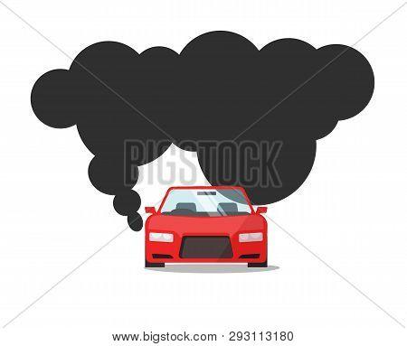 Emission Co2 Of Automobile Fuel Vector Illustration, Flat Cartoon Car With Big Smoke Cloud Gas, Conc