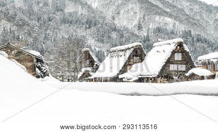 Shirakawago Village And Japan Travel Winter Season Concept - Beautiful Landscape View Of World Herit