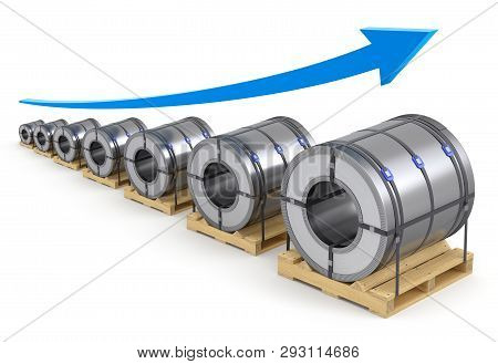 Steel Coil And Growing Arrow On White Background - 3d Illustration