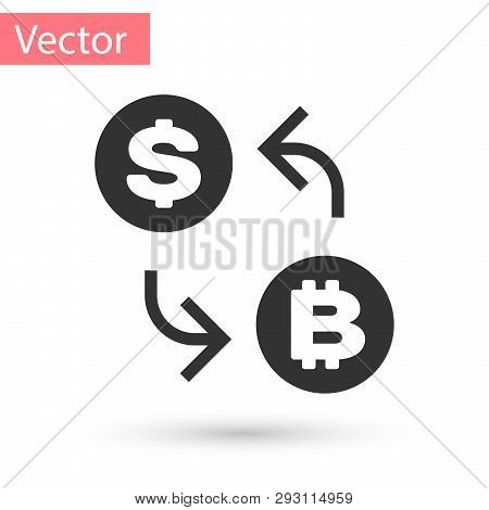 Grey Cryptocurrency Exchange Icon Isolated On White Background. Bitcoin To Dollar Exchange Icon. Cry