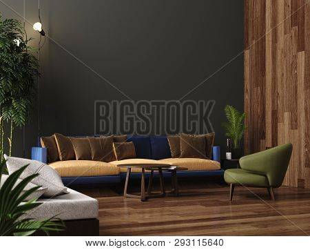 Luxury Modern Living Room Interior, Dark Green Brown Wall, Modern Sofa With Armchair And Plants, 3d