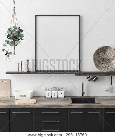 Mock Up Poster Frame In Kitchen Interior Background, Ethnic Style, 3d Illustration