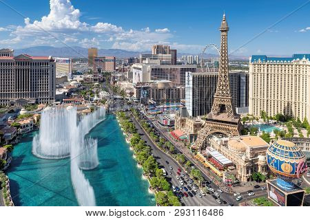 Las Vegas Strip Skyline As Seen At Sunny Day On July 24, 2018 In Las Vegas, Nevada. Las Vegas Is One