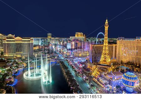 Las Vegas Strip Skyline As Seen At Night On July 24, 2018 In Las Vegas, Nevada. Las Vegas Is One Of