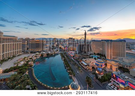 Sunrise At World Famous Vegas Strip On July 26, 2018 In Las Vegas, Usa. The Strip Is Home To The Lar