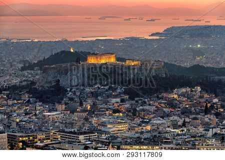 Sunset View Of Athens City From Lycabettus Hill With Parthenon Temple At The Acropolis Of Athens, Gr