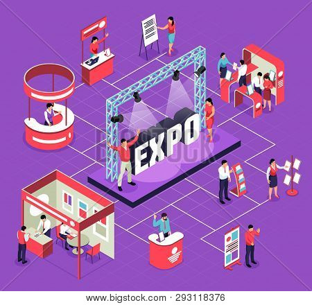 Isometric Expo Flowchart Composition With Isolated Images Of Exhibit Booths Stands People And Stage