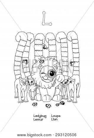 Vector Outline Animals English Alphabet For Letter L
