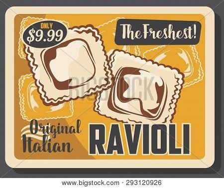 Ravioli Pasta Italian Cuisine Dumpling With Meat And Vegetable Fillings. Homemade Agnolotti, Square