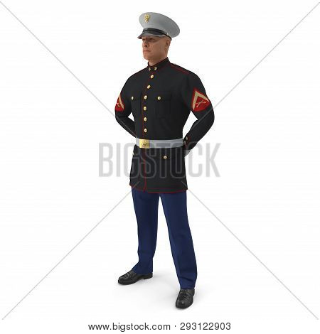 Us Marine Corps Soldier In Parade Uniform Isolated On White Background 3d Illustration