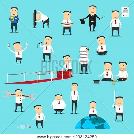 Businessman Characters, Manager, Office Worker Or Clerk In Different Situations, Poses And Gestures