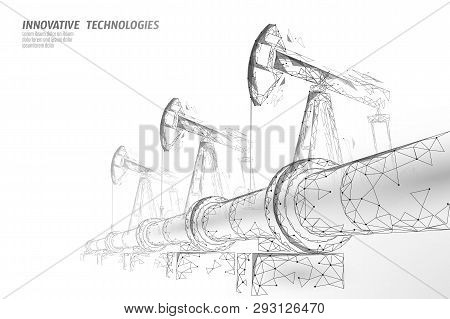 Oil Pipeline Low Poly Business Concept. Finance Economy Polygonal Petrol Production. Petroleum Fuel