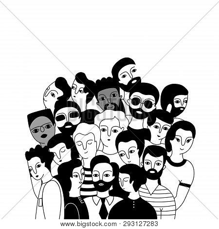 A Multicultural Group Of Men (muslim, Asian, European) On A White Background. Social Diversity. Dood