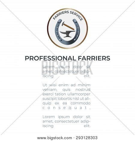 Professional Farriers leaflet template with a logo with an anvil, hammer and a horseshoe. All the basic instruments for hoof care and shoeing. Fine for farriers services promo materials, banners, flyers amd leaflets. poster