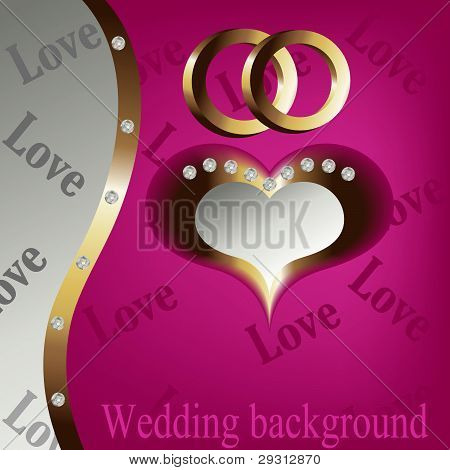Wedding Heart Background With Gold And Brilliants