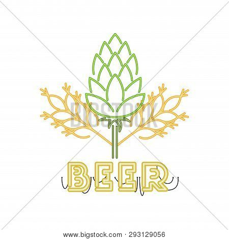 Wheat Leaves And Pinecone In Neon Light Vector Illustration Desing