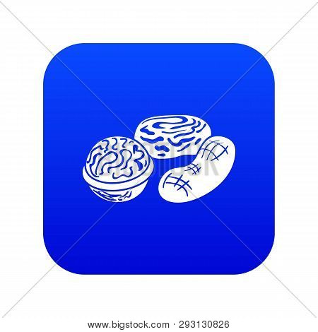 Nuts Icon Blue Vector Isolated On White Background