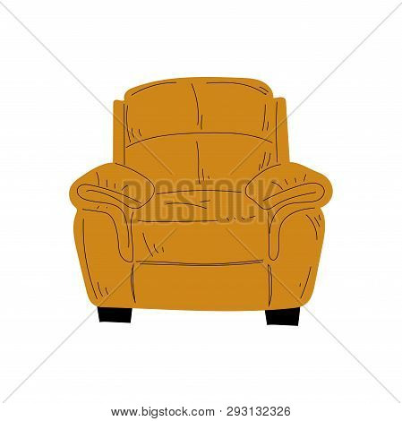 Comfortable Armchair, Cushioned Furniture with Ochre Upholstery, Interior Design Element Vector Illustration poster