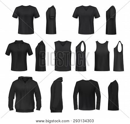 Women Shirts 3d Vector Templates From Front And Side Views. Black T-shirt, Polo And Hooded Sweatshir