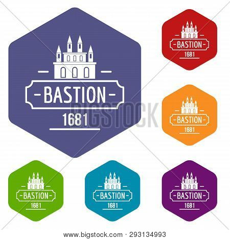 Royal Bastion Icons Vector Colorful Hexahedron Set Collection Isolated On White