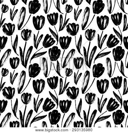 Tulips Hand Drawn Seamless Pattern. Black And White Ink Brush Texture. Flowers Grunge Brushstroke Dr