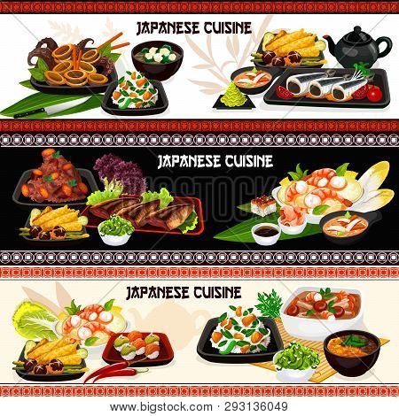 Japanese Cuisine Fish, Seafood And Vegetable Dishes Vector Banners. Sushi, Baked Mackerel, Potato An