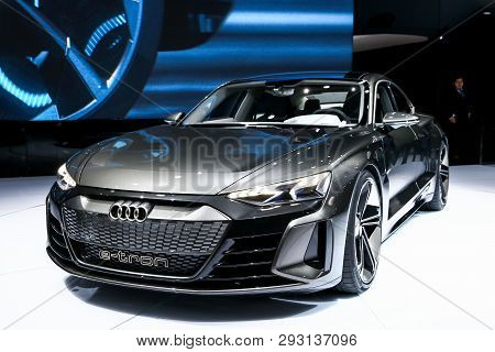 Geneva, Switzerland - March 10, 2019: All-electric Sports Car Audi E-tron Gt Presented At The Annual