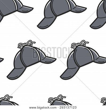 Sherlock Holmes Hat Seamless Pattern England Symbol