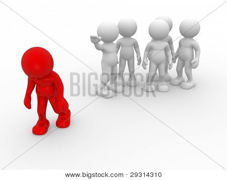 3d people - human character person. Discrimination concept. Different. 3d render illustration poster