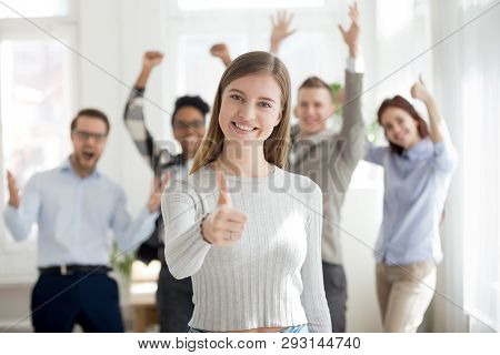 Smiling Group Of Multiracial Business People Indoors