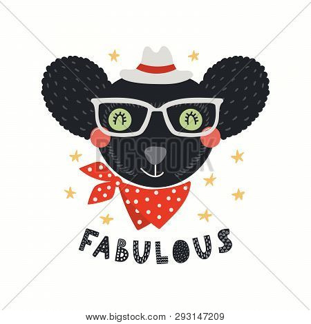 Hand Drawn Vector Illustration Of A Cute Hipster Indri In Glasses, With Lettering Quote Fabulous. Is