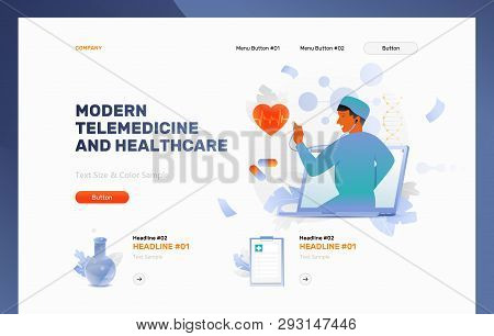 Modern Telemedicine And Healthcare Vector Header Or Frontpage Template. Doctor With Stethoscope On L