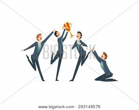 Successful Businessman With Winner Cup, Team Leader Business Competition, Envious Colleagues Envying