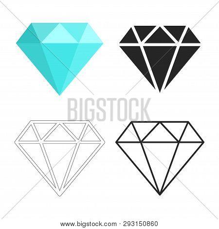 Set Of Diamonds Icon. Linear Outline Sign. Blue, Black And White Diamond. Template Design For Corpor