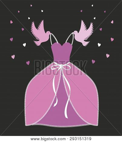 Vector Illustration. Dream Dress In Pink With Laces. Pink Cinderella Dress. Pigeons Carries The Dres