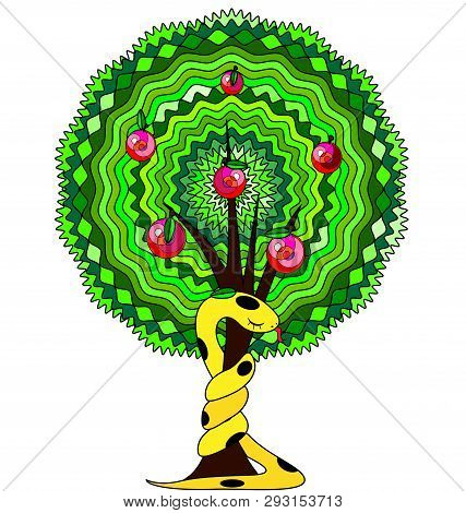 White Background And The Abstract Apple Tree With Yellow Snake