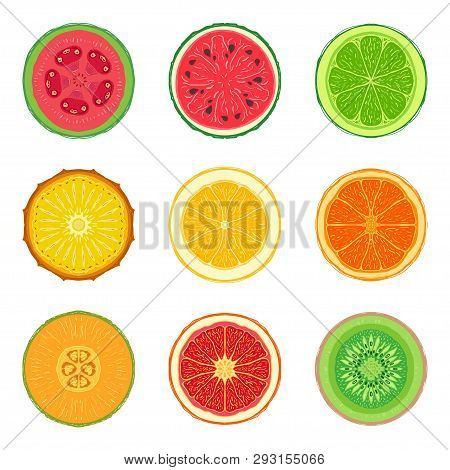 Sliced Tropic Fruit Set. Collection Of Round Summer Fruit Slice Icons