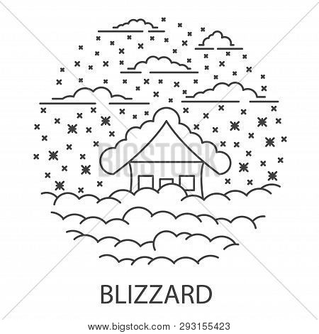Blizzard Natural Disaster Circle Banner In Linear Style. Compositions Of Blizzard Disaster. Vector I