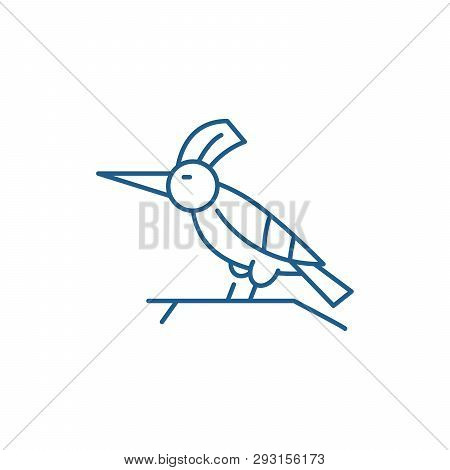 Woodpecker Line Icon Concept. Woodpecker Flat  Vector Symbol, Sign, Outline Illustration.