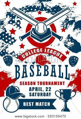 Baseball Sport Game Season Tournament Of College League Vector Design. Ball, Bat And Winner Trophy C