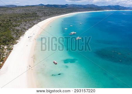 Aerial View Of Whitehaven Beach In The Whitsunday Islands In Queensland Australia. Whitehaven Beach