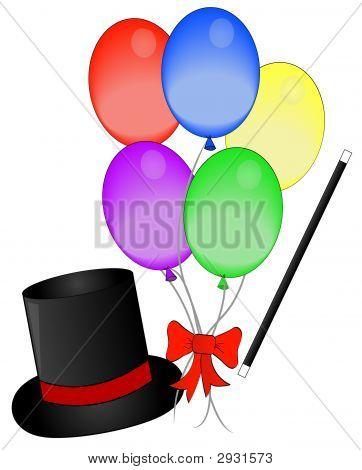 Magic Hat Wand And Balloons