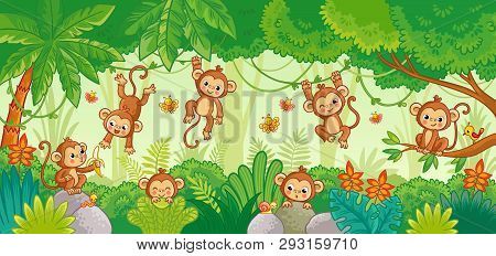 Vector Set With Monkey In Various Poses On Jungle Background.