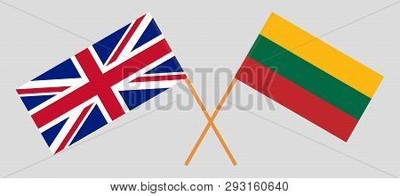 Lithuania and UK. The Lithuanian and British flags. Official colors. Correct proportion. Vector illustration poster